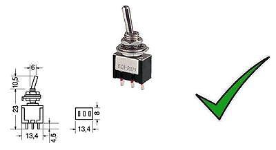 Deviatore levetta miniatura unipolare 3 posizioni ON-OFF-ON 250V 125V 3A leva