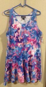 5618db98c547 NWT Junior's Joe Boxer Skater Dress - Floral - Blue Multicolor Size ...