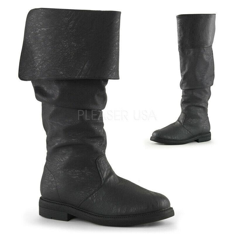 Herren Schwarz Hohe Piratenstiefel Fold Over Renaissance Cosplay Schuhe12  13 14