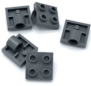 Lego-5-New-Dark-Bluish-Gray-Plates-Modified-2-x-2-with-Pin-Holes