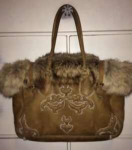 4a5bbf4bace4 Authentic Prada Fox Fur Hobo Bag Luxurious Brown Detailed Suede ...