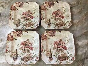 222 Fifth Gabrielle Cream Square Salad Plates. Set of 4. Porcelain ...