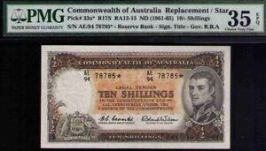 Australia QE 1961 TEN SHILLINGS *star note  PMG 35 CHOICE VF PMG EPG # 33a R17s