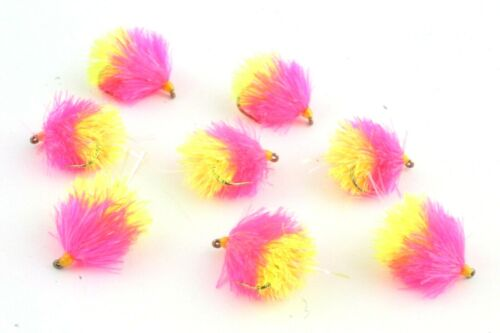 Lures, Pink/&Yellow Fly Fishing Two Tone Blobs Still water Supersoft Fritz
