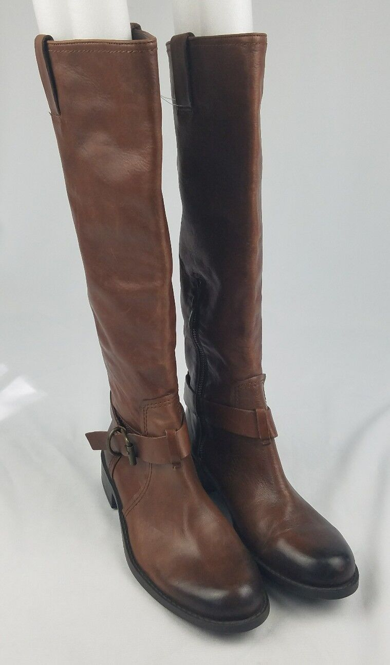 Vince Camuto Kabollans women 7.5B brown toe high rise boot round toe brown buckle strap 154330