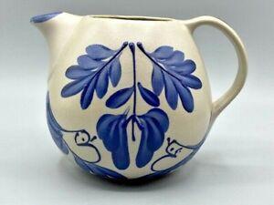 "Beaumont Brothers BBP Stoneware Pottery Salt Glazed Pitcher Cobalt Blue Birds 5"""