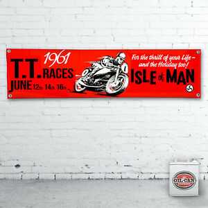 ISLE-OF-MAN-1961-TT-RACES-Banner-heavy-duty-for-workshop-garage-1200x305mm