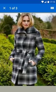 Store-Clearance-Womens-wool-rich-Cherokee-grey-checked-coat-new-tags-size-10