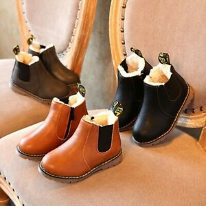 Winter-Kids-Baby-Boy-Girl-Booties-Warm-Fur-Lined-Shoes-Ankle-Boots-Chelsea-Shoes