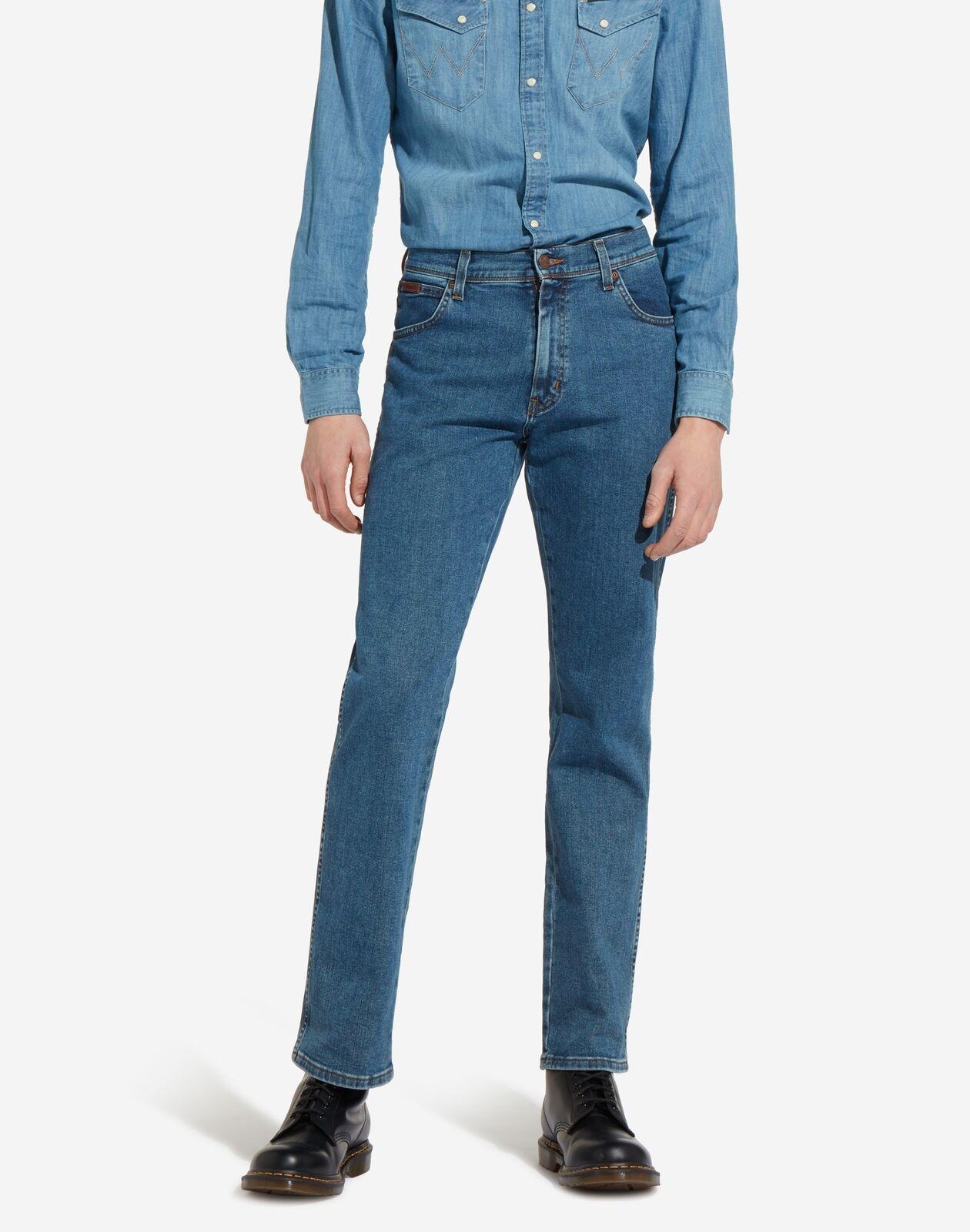 Mens Original Wrangler Texas Stretch Straight Leg Jeans Stonewash bluee 30-48
