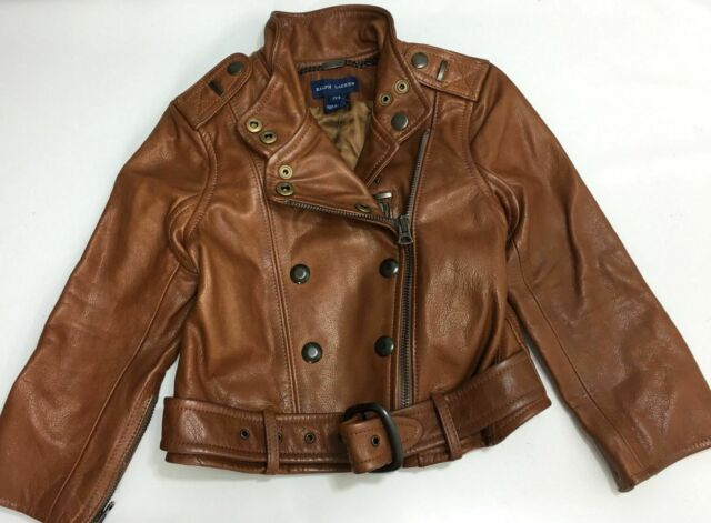 Brown Ralph Girls 3 Biker Polo Leather Lauren Jacket 2 vm80NnwO
