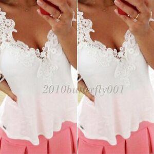 Women lace stitching sleeveless strap chiffon t shirt loose casual