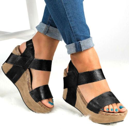 Damen Schuhe Plateau Wedges Sandalen Riemchen Keilabsatz Peep-Toe Hausschuhe 43