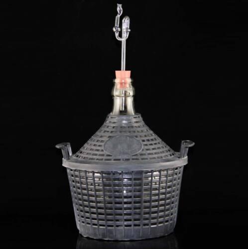 Glasgährrohr 25 l Weinballon 25 l  Glasgärballon+Kunststoffkorb+Kork