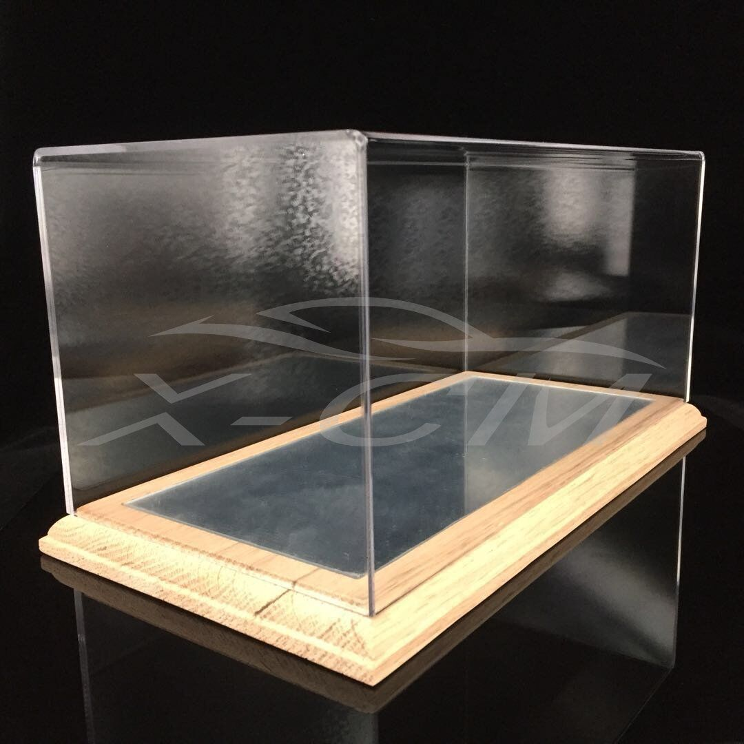 Car Model Transparent Display Show Case Wooden Mirror Like Base 1 18