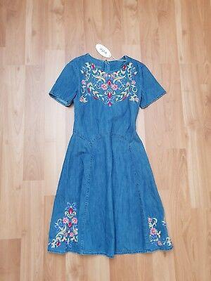 Edc by Esprit Sommer Freizeit Jeans Denim Kleid Jeanskleid Stickerei Gr XS 34 36   eBay