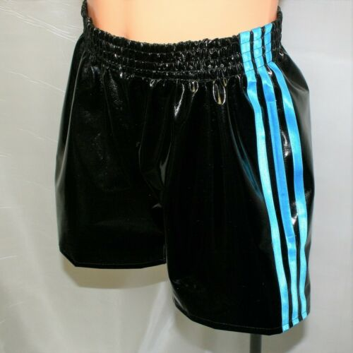 PVC Thigh Length Leisure Shorts Black /& Turquoise up to 4XL
