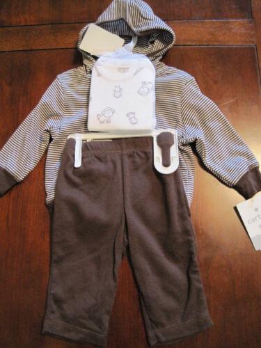 New NWT Carter Boy Brown Monkey Jacket Bodysuit Pants 3 Piece Set 3 month