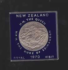 1970 New Zealand NZ $1 coin Mount Cook Queen & Duke Royal Visit