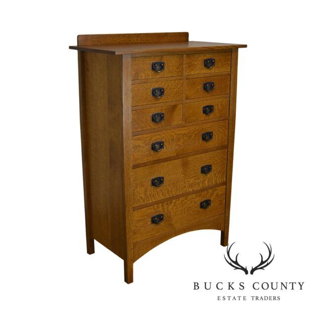 Stickley Mission Collection Oak Nine Drawer Harvey Ellis Tall Chest G