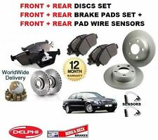 Para Mercedes Clase E E270 2002-2005 Frontal + Trasera Discos De Freno + almohadillas + Kit Sensor