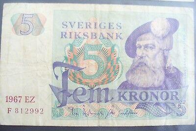 Ancien Billet - 5 Kronor SuÈde 1967 - Etat Tb+ !!!