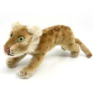 Steiff Young Lion Running Mohair Plush 17cm 6.75in 1950s no ID Vintage