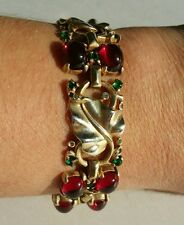 Alfred Philippe Crown Trifari Sterling Silver Red Cabochon Leaf Bracelet