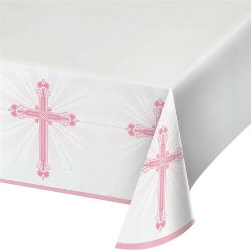 Blessings Pink Plastic Banquet Tablecloth Religious Party Supplies Decorations