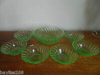 Bagley Carnival Uranium Glass Fruit/Dessert Set 1 Large and 6 small dish.