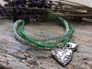 LOVE-Flower-Heart-Charm-Green-Beads-Triple-Layer-Strand-Hippy-Boho-Bracelet-NEW