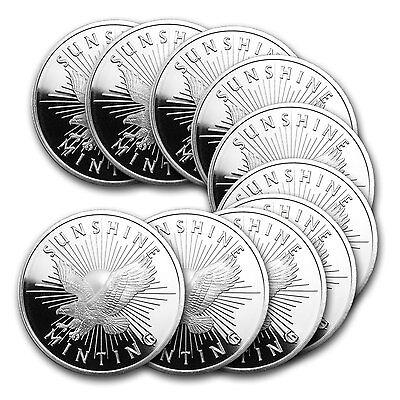 1 oz Sunshine Silver Round - Lot of 10 - SKU #81518