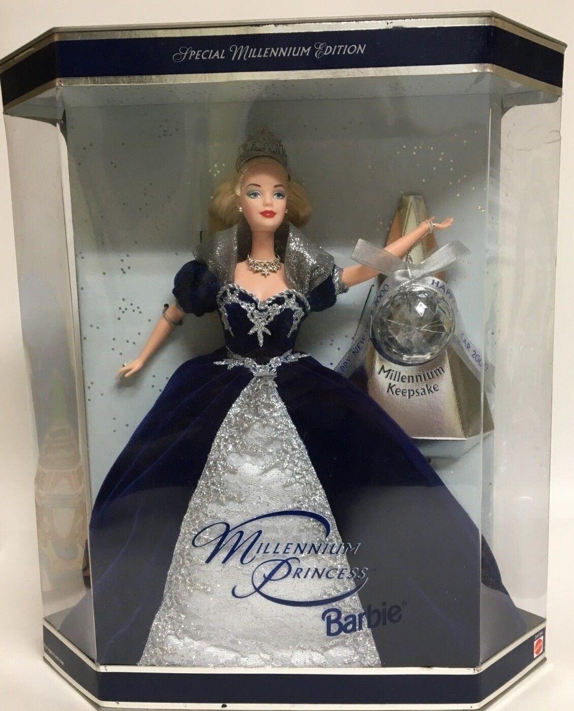 Muñeca Barbie Princesa del milenio feliz año nuevo Especial Ed Ornamento nunca quitado de la Caja de 2000