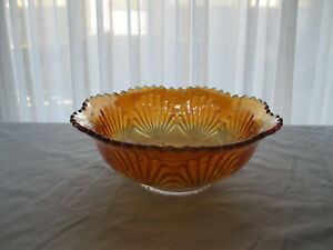 Imperial-039-Shell-and-Sand-039-Marigold-Carnival-Glass-Bowl-7-1-2-034-dia-X-2-3-4-034-tl