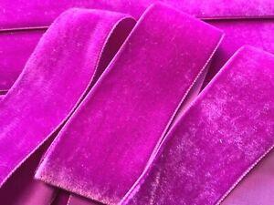 Vintage-Velvet-1-5-034-Ribbon-Magenta-3yds-Made-in-Switzerland