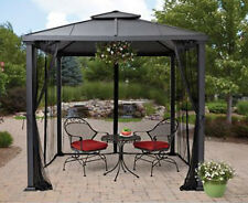 Metal Roof Gazebo With Netting Hard Top Pergola Canopy 8u0027x8u0027 Patio Yard  Shelter