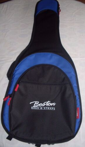 Boston Deluxe 25mm padded Acoustic Guitar Gig Bag Full size black//blue AB-25-BU