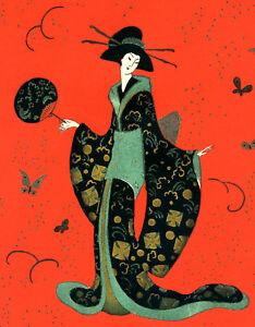 1930s-French-Pochoir-Print-Edouard-Halouze-Artdeco-Exquisite-Geisha-Kimono-Fan-S