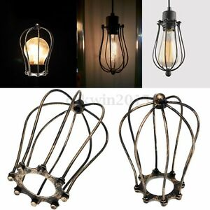 1PC Antique Brass Iron Wire Bulb Lamp Cage Guard Shade Vintage Pendant Light NEW
