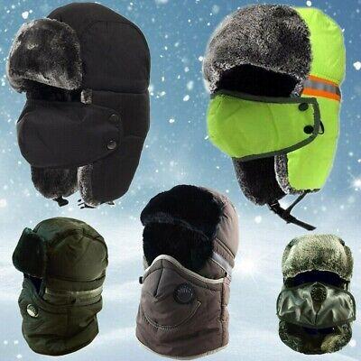 Women Men Trapper Winter Hat Warm Earflap Aviatr Russian Trooper Ski Fur Cap