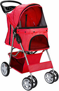 Pet-Stroller-Cat-Dog-4-Wheeler-Walk-Stroller-Travel-Folding-Carrier-Red