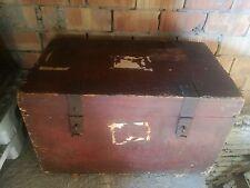 BAULE legno ferro battuto cassa epoca '800 portabagagli forziere cofano valigia
