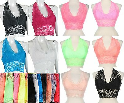 *10 Colors* Neon Too**Lace Overlay Vee Neck Cropped Halter Bra/Bralette Top