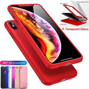 iPhone-X-8-7-6-Plus-XS-Max-XR-Case-360-Shockproof-Slim-Hard-Cover-Tempered-Glass