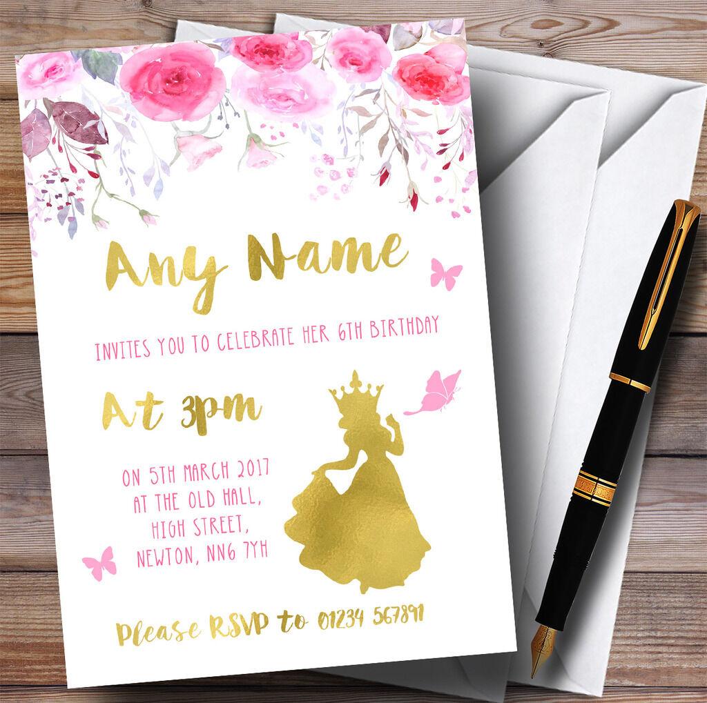 Aquarelle rose Birthday or Floral princesse Childrens Birthday rose Party Invitations b04095