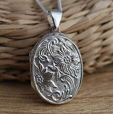 Solid 925 Sterling Silver Large Flower Oval Photo Picture Locket Pendant