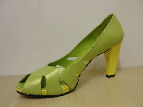 """green//yellow peep toe court shoes BNWB HB /""""Accept/"""" RRP £105.00"""
