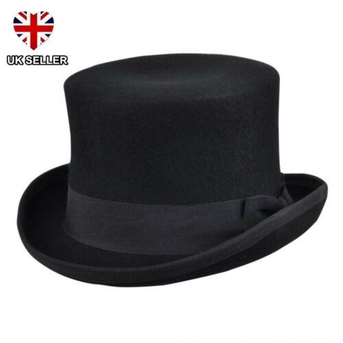 NEW BLACK WOOL TOP HAT QUALITY 100/% WOOL FELT WEDDING ASCOT BOXED UK SELLER