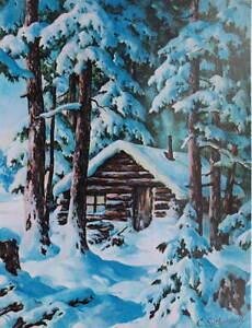 Cabin In Snowy Woods By C Sutherland Ebay