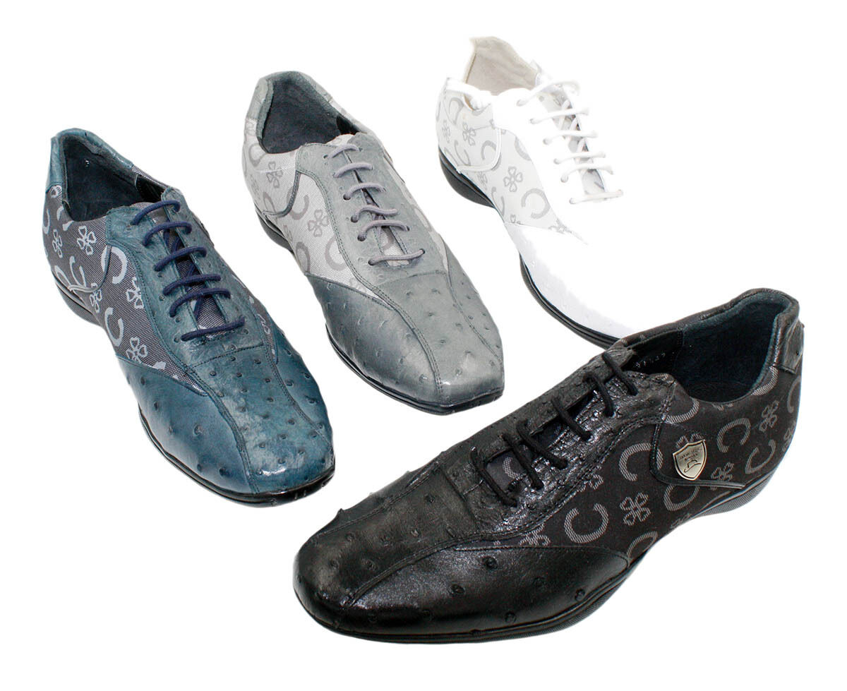 Men's Genuine Wild West Leather Ostrich Print shoes in Assorted colors